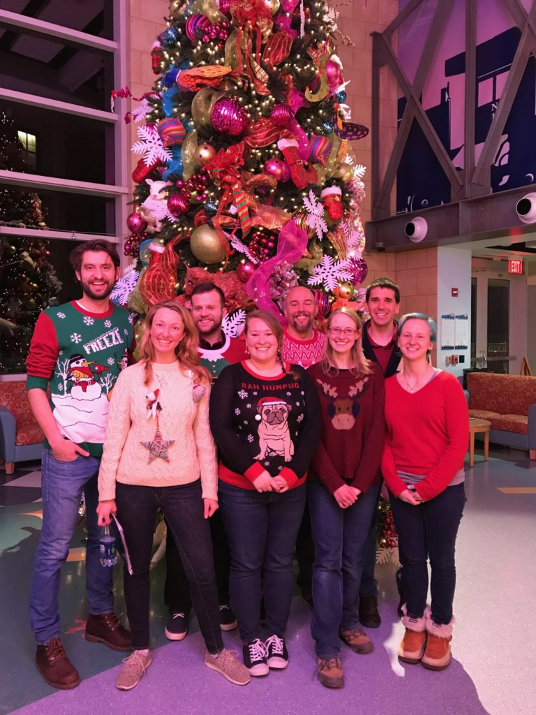 in our holiday sweaters at the Children's Hospital
